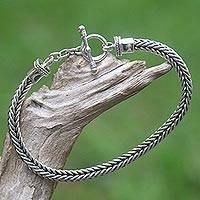 Men's sterling silver braid bracelet, 'Dragon Braid' - Sterling Silver Link Bracelet from Indonesia