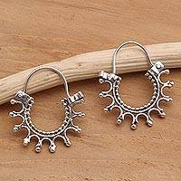 Sterling silver hoop earrings, 'Radiance' - Artisan Crafted Sterling Silver Hoop Earrings