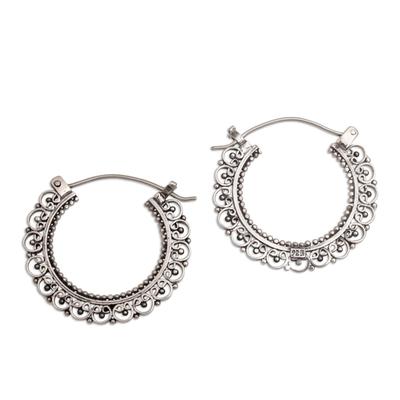 Artisan Jewelry Sterling Silver Hoop Earrings