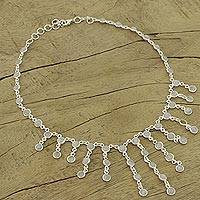 Moonstone waterfall necklace, 'Radiance' - Artisan Jewelry Sterling Silver Choker Moonstone Necklace
