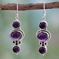 Amethyst dangle earrings, 'Elegant Fantasy' - Amethyst and Sterling Silver Earrings from India