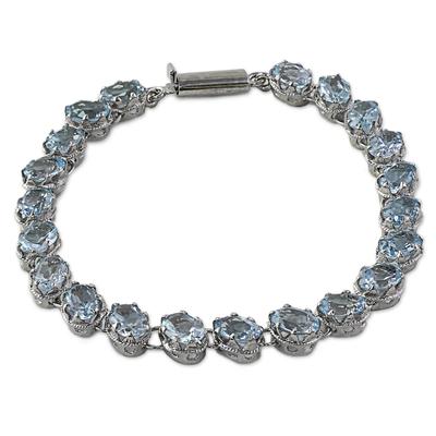 Sterling Silver Link Blue Topaz Bracelet from India