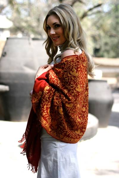 Wool shawl, 'Sparkling Wine Paisley' - Artisan Crafted Women's Paisley Wool Embroidered Shawl