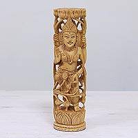 Wood statuette Lakshmi Goddess of Prosperity India