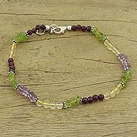Gemstone anklet, 'Aurora' - Handcrafted Sterling Silver Beaded Multigem Anklet