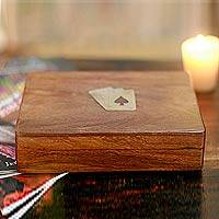 Wood box and playing cards,