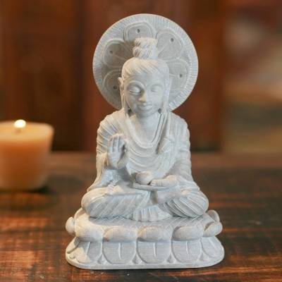 Soapstone sculpture, 'Beautiful Buddha' - Natural Soapstone Sculpture from India