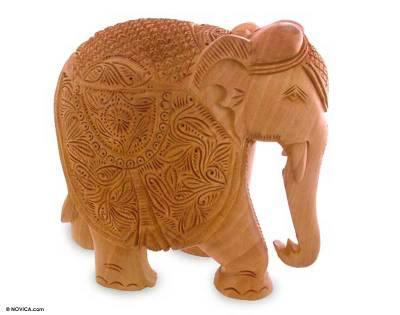Fair Trade Hand Carved Wood Elephant Sculpture from India