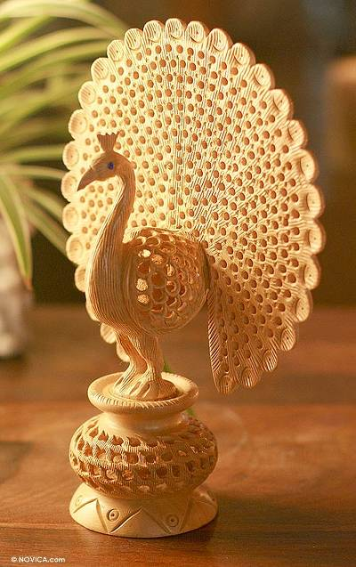 Hand Carved Jali Style Wood Peacock Sculpture India