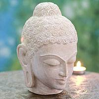 Sandstone sculpture, 'Tranquil Buddha' (large) - Natural Stone Buddha Sculpture (Large)