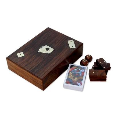 Wood box and game pieces, 'Three Game Fun' - Cards Dice Dominos Set Wood Box Brass Inlay
