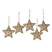 Beadwork ornaments, 'Glorious Star' (set of 5)