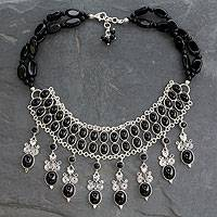 Onyx collarette necklace, 'Black Lotus' - Hand Made Sterling Silver Onyx Necklace Indian Jewelry