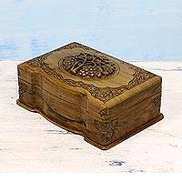 Walnut jewelry box, 'Vineyard' - Walnut jewellery box