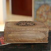 Walnut jewelry box, A Walk in the Forest - Hand Carved Wood Jewelry Box