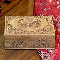 Walnut jewelry box, 'Camel' - Handcrafted Wood Jewelry Box