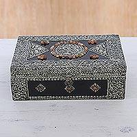 Brass jewelry box, 'Charisma' - Hand Made Brass Repoussé Jewelry Box