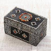 Brass jewelry box, 'Treasure Chest' - Handcrafted Repousse Brass jewellery Box
