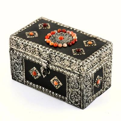 Brass jewelry box, 'Treasure Chest' - Handcrafted Repousse Brass Jewelry Box