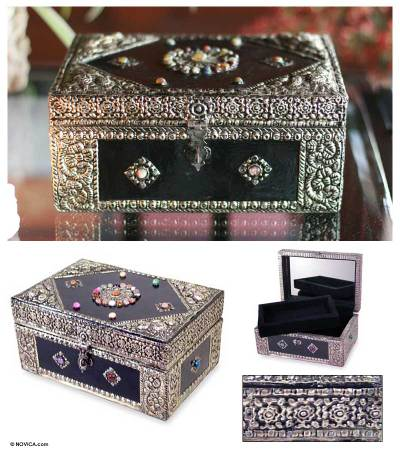 Brass jewelry box, 'Enchantment' - Hand Made Repousse Brass Jewelry Box