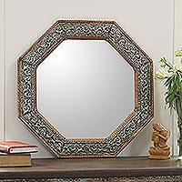 Mirror, 'Perfection' - Repoussé Wall Mirror with Hammered Copper Frame