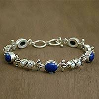 Lapis and pearl link bracelet Sky Song India
