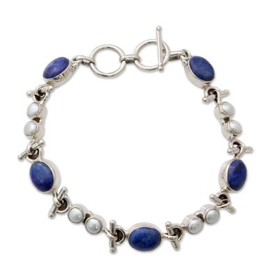 Handmade Sterling Silver Link Lapis Lazuli Pearl Bracelet