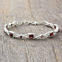 Garnet tennis bracelet, 'Sleek and Chic' - Bracelet Handcrafted Garnet and Silver Jewelry