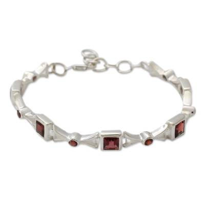 Bracelet Handcrafted Garnet and Silver Jewelry