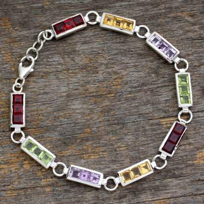 Multigemstone tennis bracelet, 'Rainbow Crown' - Sterling Silver and Multigemstone Tennis Bracelet