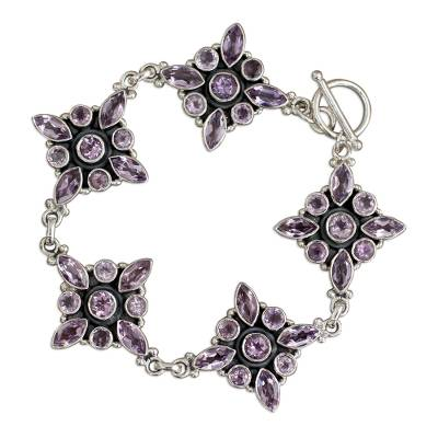 Amethyst Floral Sterling Silver Bracelet from India