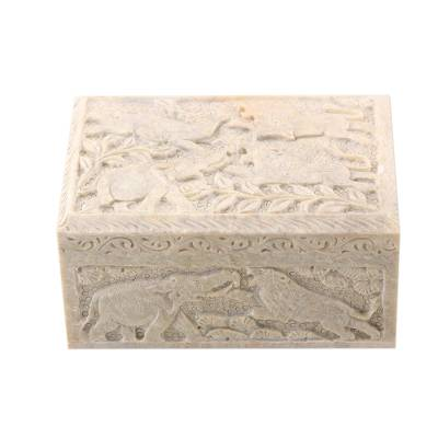 Carved Elephant and Lion Soapstone Jewelry Box from India