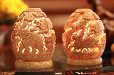 Soapstone candleholders (Pair)