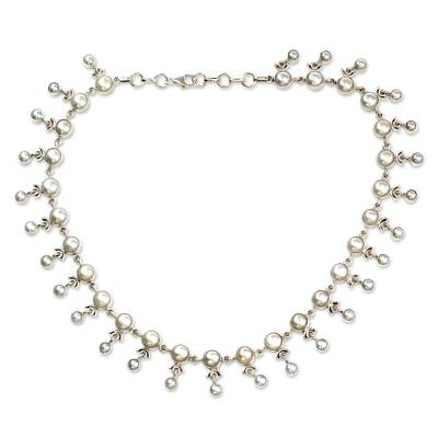 Bridal Jewelry Sterling Silver Pearl Strand Necklace