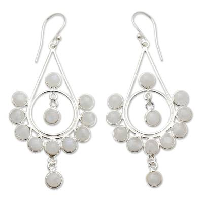 Moonstone Silver Earrings Handmade Indian Style Jewelry