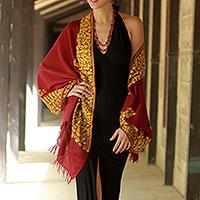 Wool shawl, 'Wine Floral Drama'