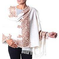 Wool shawl, 'White Floral Drama' - Handcrafted Women's Floral Wool Embroidered Shawl