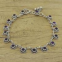 Amethyst anklet, 'Violet Moon' - Amethyst Anklet Hand Made Sterling Silver Jewelry