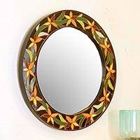 Mirror, 'Daffodils' - Fair Trade Indian Mosaic Ceramic Mirror