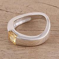 Citrine solitaire ring, 'Lemon Drop' - Modern Sterling Silver and Citrine Ring