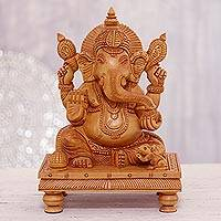 Wood sculpture, 'Peaceful Ganesha'
