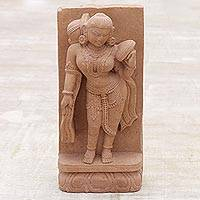 Sandstone sculpture, 'Undying Beauty' - Handmade Natural Sandstone Sculpture from India