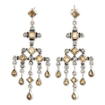 Unique Sterling Silver and Topaz Chandelier Earrings