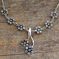 Moonstone and garnet floral necklace, 'White Marigold' - Moonstone and garnet floral necklace