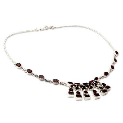 Indian Sterling Silver and Garnet Necklace