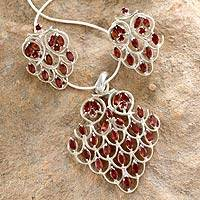 Garnet jewelry set, 'Love Sonnet' - Garnet jewellery set