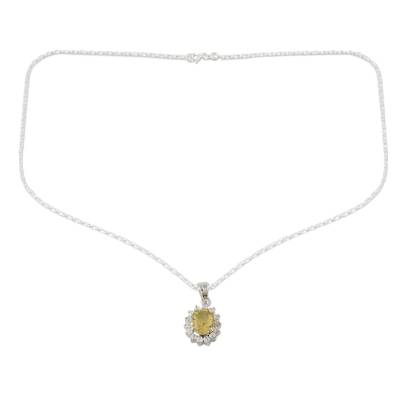 Citrine and Sterling Silver Necklace from India