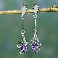Amethyst dangle earrings, 'Floral Bud' - Sterling Silver and Amethyst Earrings