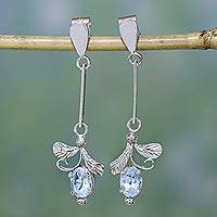 Topaz earrings, 'Ice Blue Blossom' - Unique Sterling Silver and Blue Topaz Earrings