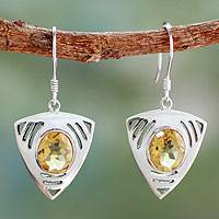 Citrine dangle earrings, 'Lemon Dewdrop' - Sterling Silver and Citrine Dangle Earrings